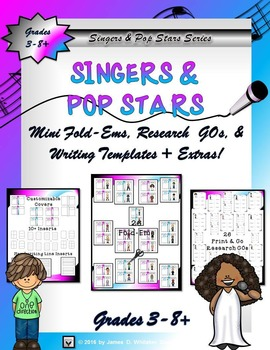 Hollywood Entertainers, Singers, Pop Stars Interactive Mini Research Fold-Ems