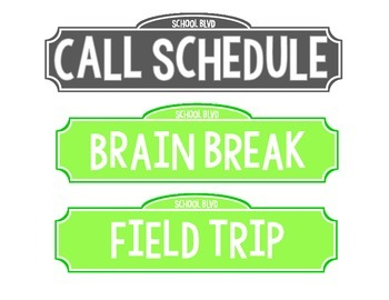 Hollywood Street Sign Schedule Cards
