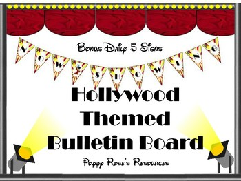 """Hollywood Studios Themed  """"Now Showing"""" Bulletin Board  & Daily 5 Set"""