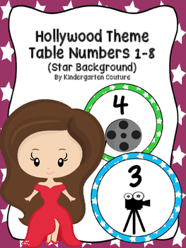 Hollywood Table Numbers 1-8