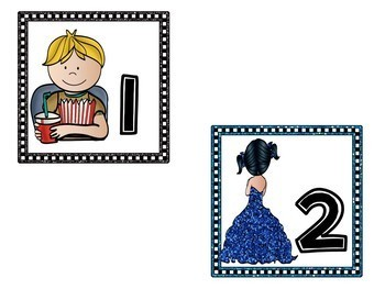Hollywood Table Numbers - Classroom Decor
