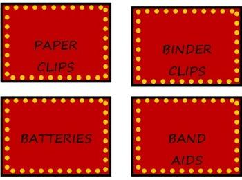 Hollywood Teacher Toolbox Labels