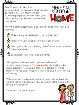 Hollywood Testing Themed Parent Letter