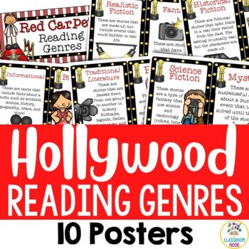 Hollywood Theme:  10 Reading Genre Posters