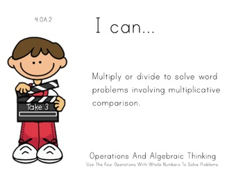 Hollywood Theme 4th grade math Common Core Posters fourth Grade Standards