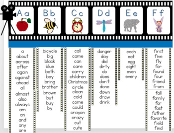 Hollywood Theme Alphabet, Word Wall and Number Line