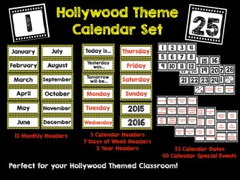 Hollywood Theme Calendar Set