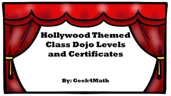 Hollywood Theme Class Dojo Levels and Certificates
