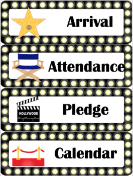Hollywood Theme Class Schedule