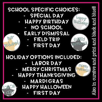 Hollywood Theme Classroom Calendar