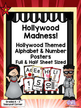 Hollywood Theme  Classroom Decor Alphabet & Numbers to 20 Posters