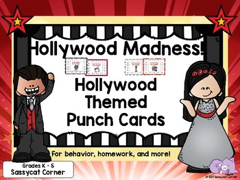 Hollywood Theme Classroom Decor Homework Reward Punch Cards