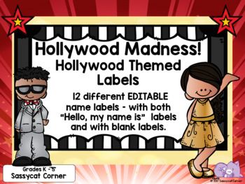 Hollywood Theme Classroom Decor Name Labels or Tags - Editable