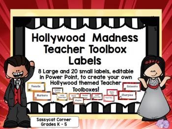Hollywood Theme Classroom Decor Teacher Toolbox Labels Editable