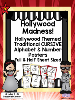 Hollywood Theme Classroom Decor Traditional Cursive Alphabet & Numbers Posters