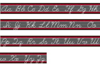 Hollywood Theme Classroom Decor Traditional Cursive Alphabet Strips Bundle