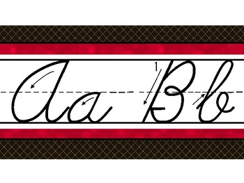 Hollywood Theme Classroom Decor Traditional Cursive Red, Black, and White Strips