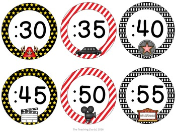 Hollywood Theme Clock Tags & Labels
