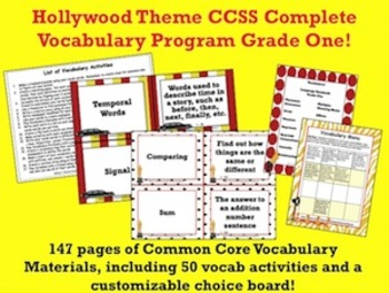 Hollywood Theme Grade One CCSS Complete Vocabulary Program