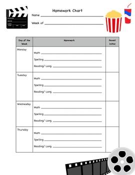 Hollywood Theme Homework Chart