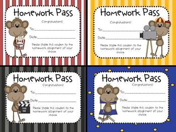 Hollywood Theme Homework Passes/Coupons
