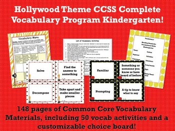 Hollywood Theme Kindergarten CCSS Complete Vocabulary Program