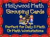 Hollywood Theme Math Center Grouping Cards & Planning Sheet