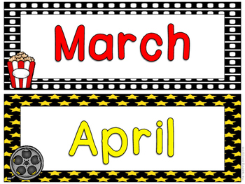 Hollywood Theme Months of the Year Signs