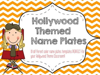 Hollywood Theme Name Plate Templates