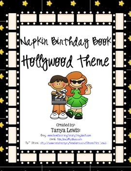 Hollywood Theme Napkin Birthday Book