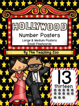 Hollywood Theme Number Posters 0-20 - Large, Small & Flashcards