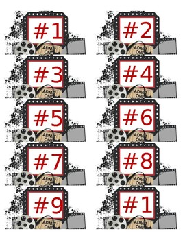 Hollywood Theme Numbered Labels