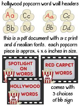 Word Wall Headers: Hollywood Themed Popcorn Letters (includes D'Nealian)