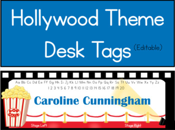 Hollywood Theme Red Carpet Desk Tags (Editable)