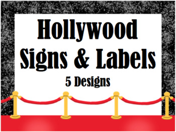 Hollywood Theme Signs and Labels (Editable)