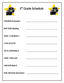 Hollywood Theme Student Schedule