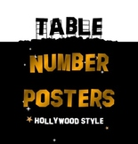 Hollywood Themed Table Number Posters