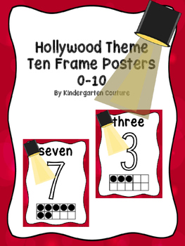 Hollywood Theme Ten Frame Number Posters 0-10