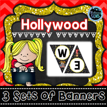 Hollywood Theme Welcome Banners - 3 sets