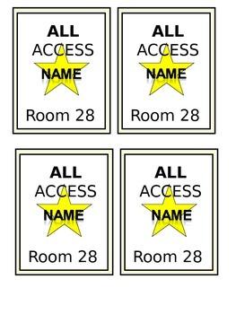 Hollywood Themed All Access Badge (Name Tag) Editable!