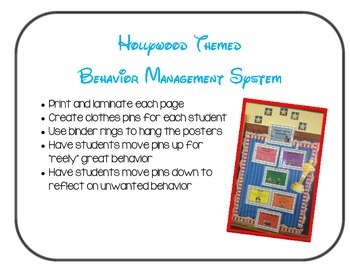 Behavior Management Chart Whole Class - Hollywood Themed