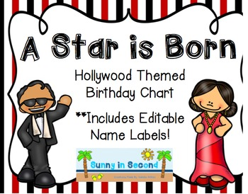 Hollywood Themed Birthday Chart