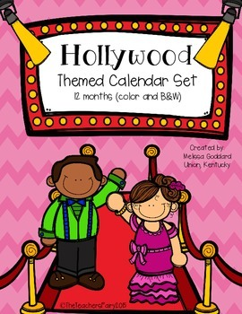 Hollywood Themed Calendar Set: 12 months (Color and B&W) 48 total