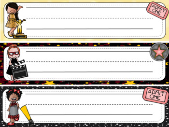 Hollywood Themed Classroom Decor Desk Labels - Editable