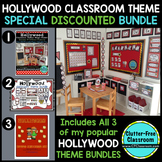 HOLLYWOOD THEME Classroom Decor - 3 EDITABLE Clutter-Free Classroom Decor BUNDLE