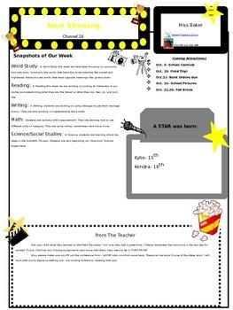 Hollywood Themed Classroom Newsletter (Editable!)
