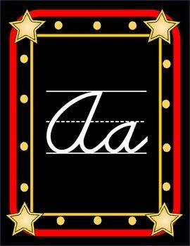 Hollywood Themed Cursive Alphabet Line