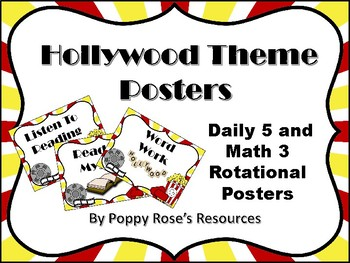 Hollywood Themed Daily 5 and Math 3 Posters and Rotational Pack