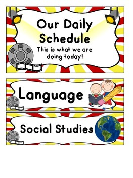 Hollywood Themed Daily Schedule Cards