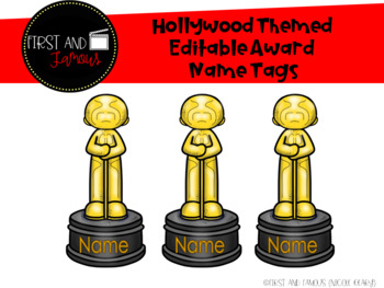Hollywood Themed Editable Award Name Tags
